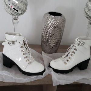 Pretty Little Thing white lugsole bootsNWOB 10